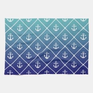 Ancres sur la sarcelle d'hiver de gradient à serviettes éponge