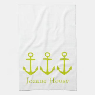 Ancres tropicales de vert de chaux sur le blanc serviettes éponge