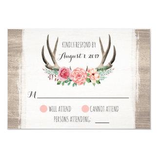 Andouillers floraux RSVP personnalisé par mariage Carton D'invitation 8,89 Cm X 12,70 Cm