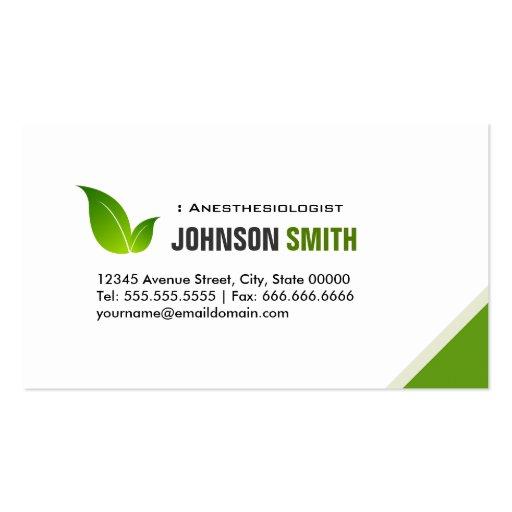 Anesthésiste - feuille verte élégante modèle de carte de visite