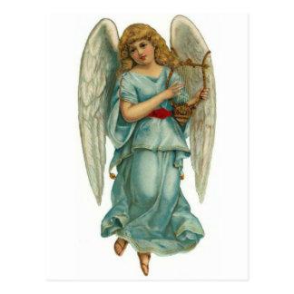 Ange à ailes et harpe carte postale
