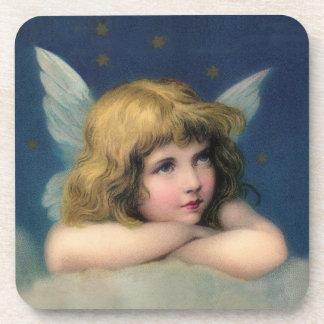 Ange adorable de cru de Noël Dessous-de-verre
