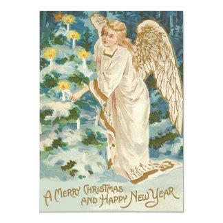 Ange allumant l'arbre de Noël illuminé par des Carton D'invitation 12,7 Cm X 17,78 Cm