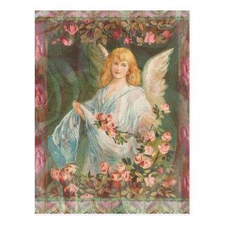 Ange avec des roses carte postale