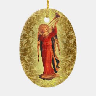 Ange avec la trompette ornement ovale en céramique