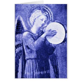 Ange avec le tambour de basque carte de vœux