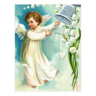 Ange de bébé avec Bell bleue Carte Postale