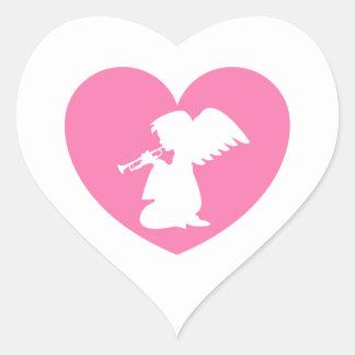 Ange de coeur avec la trompette autocollant
