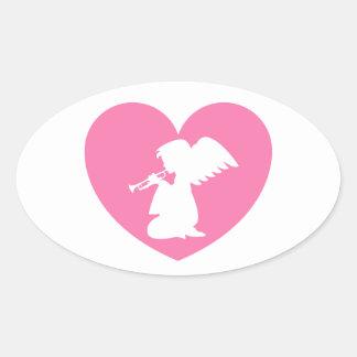 Ange de coeur avec la trompette autocollants ovales
