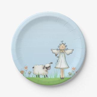 Ange de fille et agneau, bleu, religieux assiettes en papier