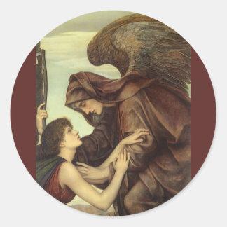 Ange de la mort (détail) par Evelyn De Morgan Sticker Rond
