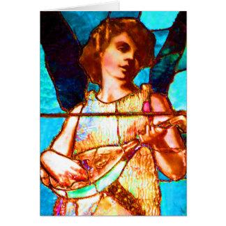 Ange de musical en verre souillé de Tiffany Cartes