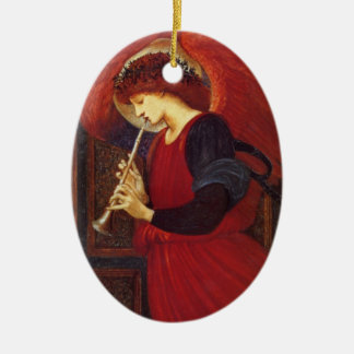 Ange de Noël avec la trompette Ornement Ovale En Céramique