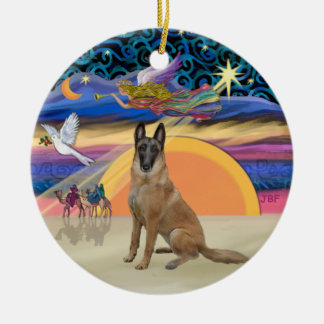 Ange de Noël - Belge Malinois Ornement Rond En Céramique