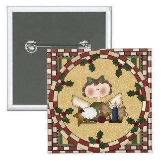 Ange de vacances badge carré 5 cm