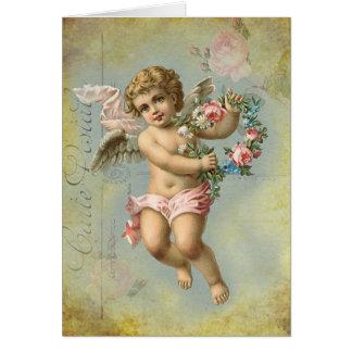 Ange de Valentine, bleu, anniversaire Carte De Vœux