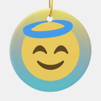 Ange Emoji Ornement Rond En Céramique