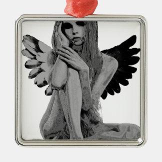 Ange en pierre ornement carré argenté