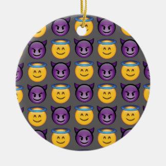 Ange et diable Emojis Ornement Rond En Céramique