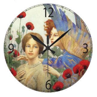 Ange, femme et horloge murale de fleurs