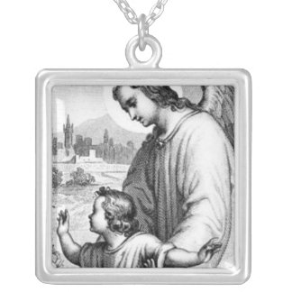 Ange gardant un enfant pendentif carré