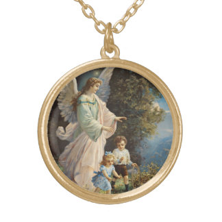 Ange gardien avec des enfants pendentif rond