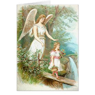 Ange gardien et fille carte de vœux