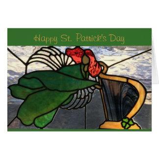 Ange irlandais en verre souillé carte de vœux