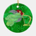 Ange irlandais et harpe en verre souillé décoration de noël