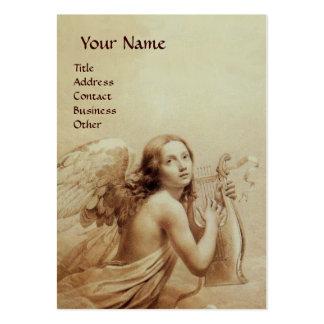 ANGE JOUANT LYRA AU-DESSUS des NUAGES, coquille Carte De Visite Grand Format