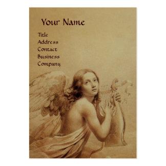 ANGE JOUANT LYRA AU-DESSUS des NUAGES, or Carte De Visite Grand Format