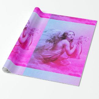 ANGE JOUANT LYRA AU-DESSUS du bleu de rose de Papier Cadeau