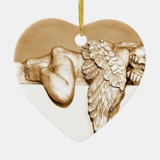 Ange Ornement Cœur En Céramique