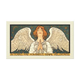 Ange religieux vintage priant avec des étoiles toiles