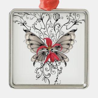 Ange rouge élégant de Feur-De-Lis de fleur Ornement Carré Argenté