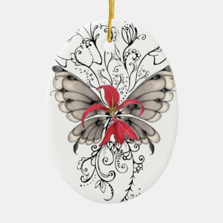 Ange rouge élégant de Feur-De-Lis de fleur Ornement Ovale En Céramique
