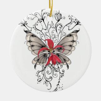 Ange rouge élégant de Feur-De-Lis de fleur Ornement Rond En Céramique