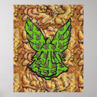 Ange vert sur l'or abstrait Arrière - Affiches
