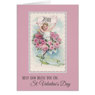 Ange vintage avec la carte de jour de Valentines
