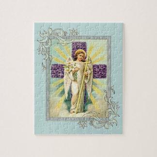 Ange vintage avec la croix pourpre puzzle