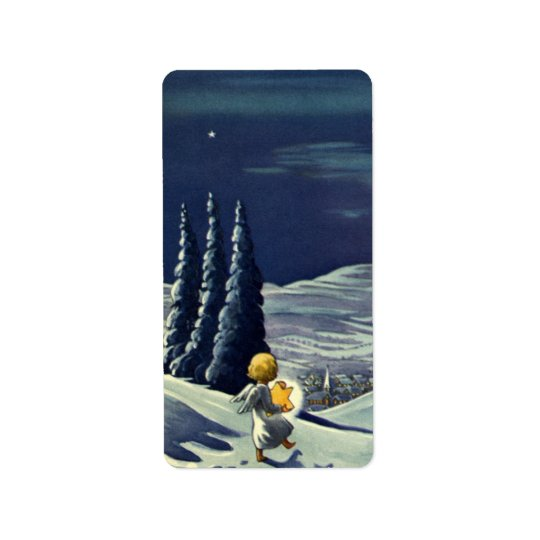 Ange vintage de neige de Noël marchant avec une Étiquettes D'adresse