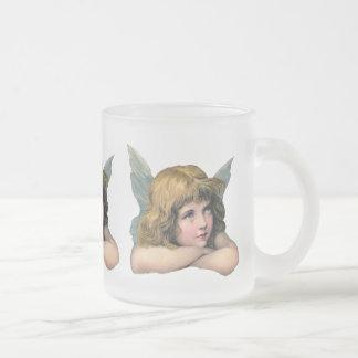 Ange vintage mug en verre givré