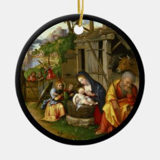 Anges c1515 de nativité et d'enfant ornement rond en céramique