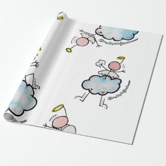 Anges dans les nuages papiers cadeaux noël