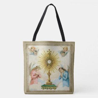 Anges de Fatima priant le Monstrance d'eucharistie Tote Bag