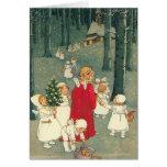 Anges de forêt de Noël Carte De Vœux