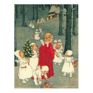 Anges de forêt de Noël Cartes Postales