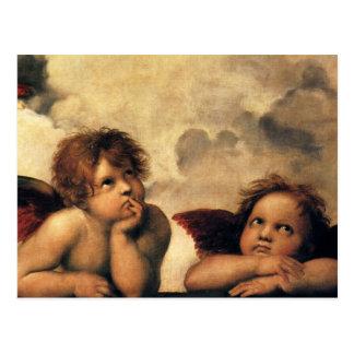 Anges de Sistine Madonna par Raphael, art de Cartes Postales