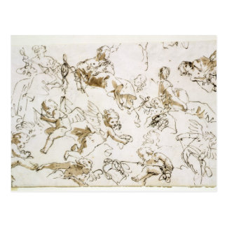 Anges, début du 18ème siècle (à l'encre et lavage cartes postales
