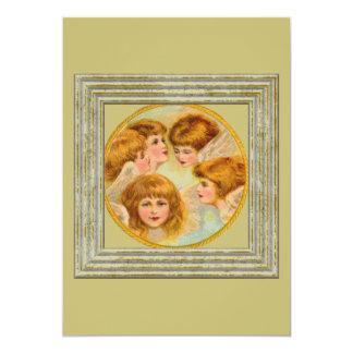 Anges en cercle d'anneau d'or carton d'invitation  12,7 cm x 17,78 cm